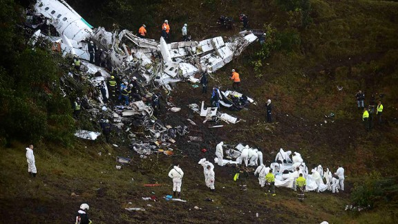 A charter airplane with 77 people on board, including players from the Brazilian soccer team Chapecoense, crashed near Rionegro, Colombia, outside Medellin, on Monday, November 28. At least 71 people were killed, officials said. Six survived.