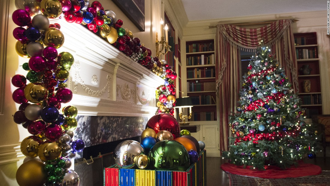 christmas trees and holiday decorations fill the white house library on november 29 2016