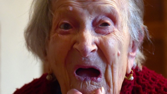"""Emma Morano made it to 117. The Italian credited her long life with ending her marriage to an abusive spouse and eating a regular diet of raw eggs and cookies. She <a href=""""http://www.cnn.com/2017/04/16/europe/emma-morano-oldest-person-dies-trnd/"""">loved cookies so much</a>, she hid them under her pillow so no one else would eat them."""