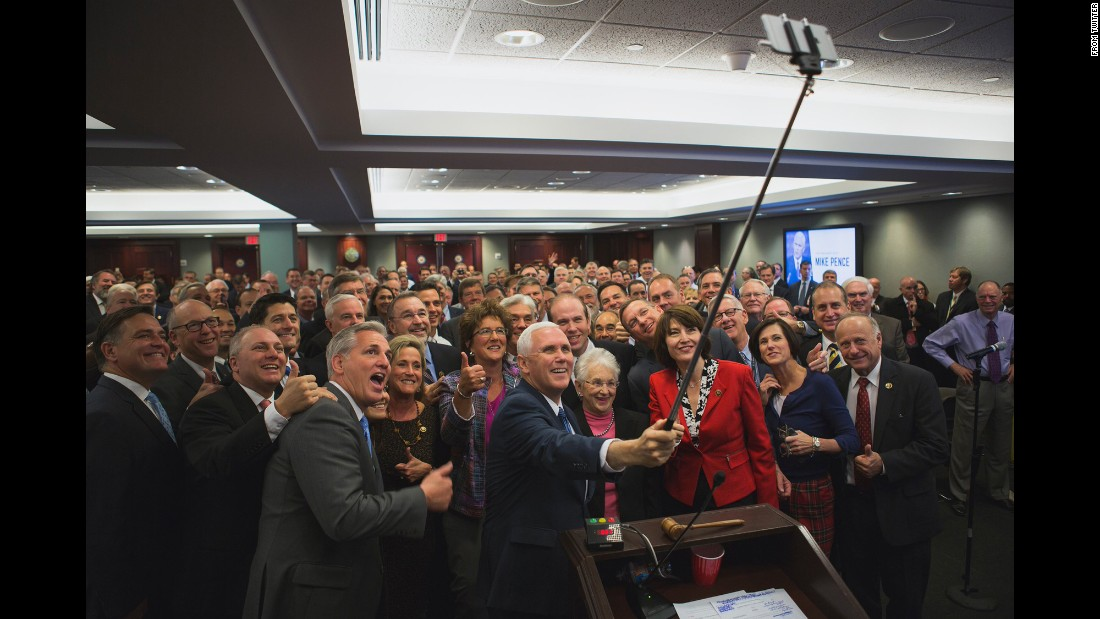 "US Vice President-elect Mike Pence uses a selfie stick for a photo with House Republicans on Thursday, November 17. The House GOP <a href=""https://twitter.com/HouseGOP/status/799280212441702405"" target=""_blank"">tweeted it</a> with the caption ""UNIFIED."""
