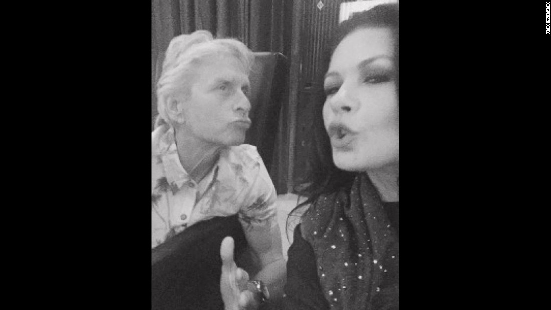 "Actress Catherine Zeta-Jones <a href=""https://www.instagram.com/p/BMrtWuVg4zM/"" target=""_blank"">takes a photo</a> with her husband, actor Michael Douglas, on Friday, November 11. She included the caption: ""When bad selfies happen to good people!"""