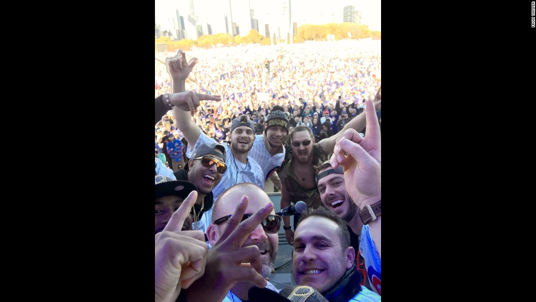 "Members of the Chicago Cubs <a href=""https://twitter.com/Cubs/status/794612960811487232"" target=""_blank"">take a selfie</a> during their World Series victory parade on Friday, November 4."