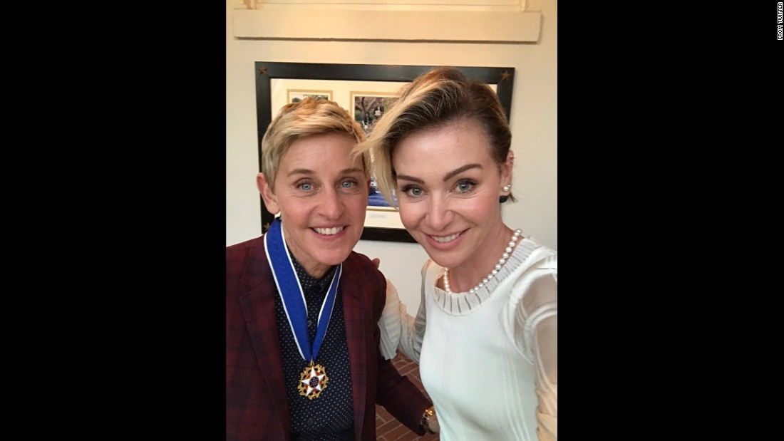 """Barack Obama just awarded me the #MedalofFreedom,"" <a href=""https://twitter.com/TheEllenShow/status/801187415968927744"" target=""_blank"">tweeted talk-show host Ellen DeGeneres,</a> left, in this photo she posted with her wife, Portia de Rossi, on Tuesday, November 22. ""I hope it serves as an ID. I have no idea how I'm getting home."""