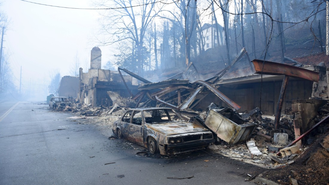 A destroyed structure and vehicle are seen near Gatlinburg on November 29.