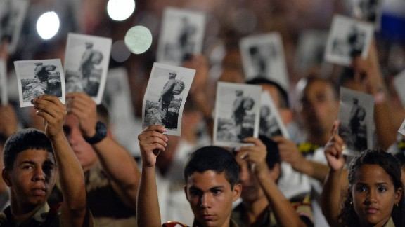 People in Havana participate in a massive rally at Revolution Square on November 29.