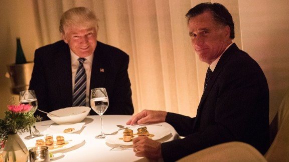 Trump and former Massachusetts Gov. Mitt Romney share a meal in New York on Tuesday, November 29. Romney was reportedly in the running for secretary of state.