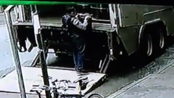 Surveillance video showed a man taking a bucked off the back of the truck.