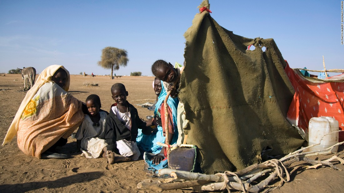 Thousands of displaced Sudanese people have been forced to live in makeshift houses where there's few water points and no food or health services.