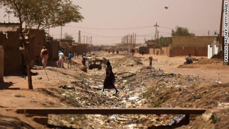 A general view shows Khartoum's southern suburb of Mayo on April 14, 2015. Mayo is mainly populated with displaced people from Darfur and Kordofan where fighting between rebels and President Omar Al-Bashir troops has forced people from their homes.