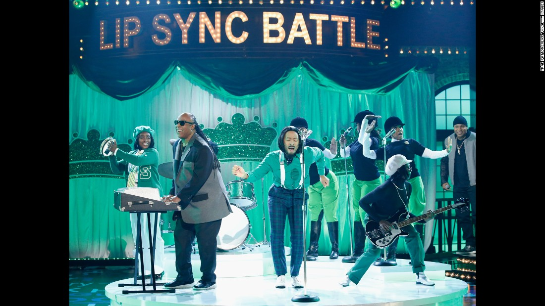 "Stevie Wonder, left, and John Legend, center, perform during Spike TV's ""Lip Sync Battle: All-Stars Live"" on Sunday, September 11."