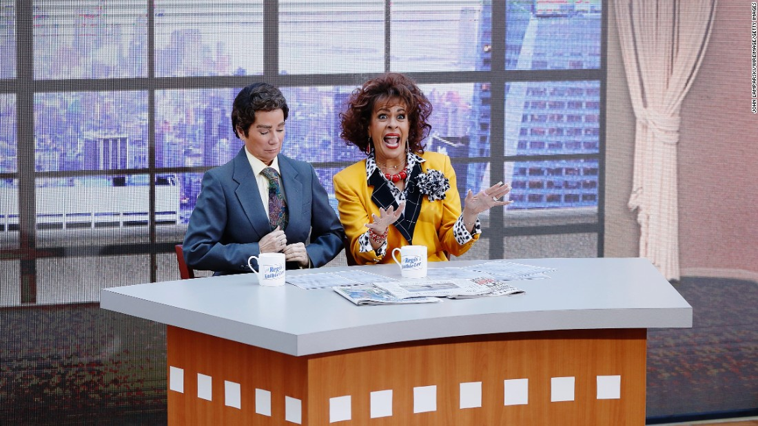 "Kathie Lee Gifford plays Regis Philbin and Hoda Kotb plays Kathie Lee Gifford during a Halloween skit on the ""Today"" show on Monday, October 31."