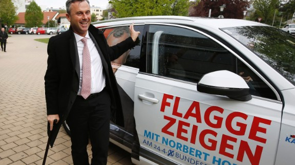 The candidat of the far-right Freedom Party (FPOe) Norbert Hofer arrives at the polling station at the first round of Austrian President elections on April 24, 2016 in Pinkafeld, some 120 kilometers south of Vienna. Austria's far-right won a clear victory in the first round of a presidential election on Sunday, projections showed, with candidates from the two governing parties failing to even make it into a May 22 runoff. / AFP / Dieter Nagl        (Photo credit should read DIETER NAGL/AFP/Getty Images)