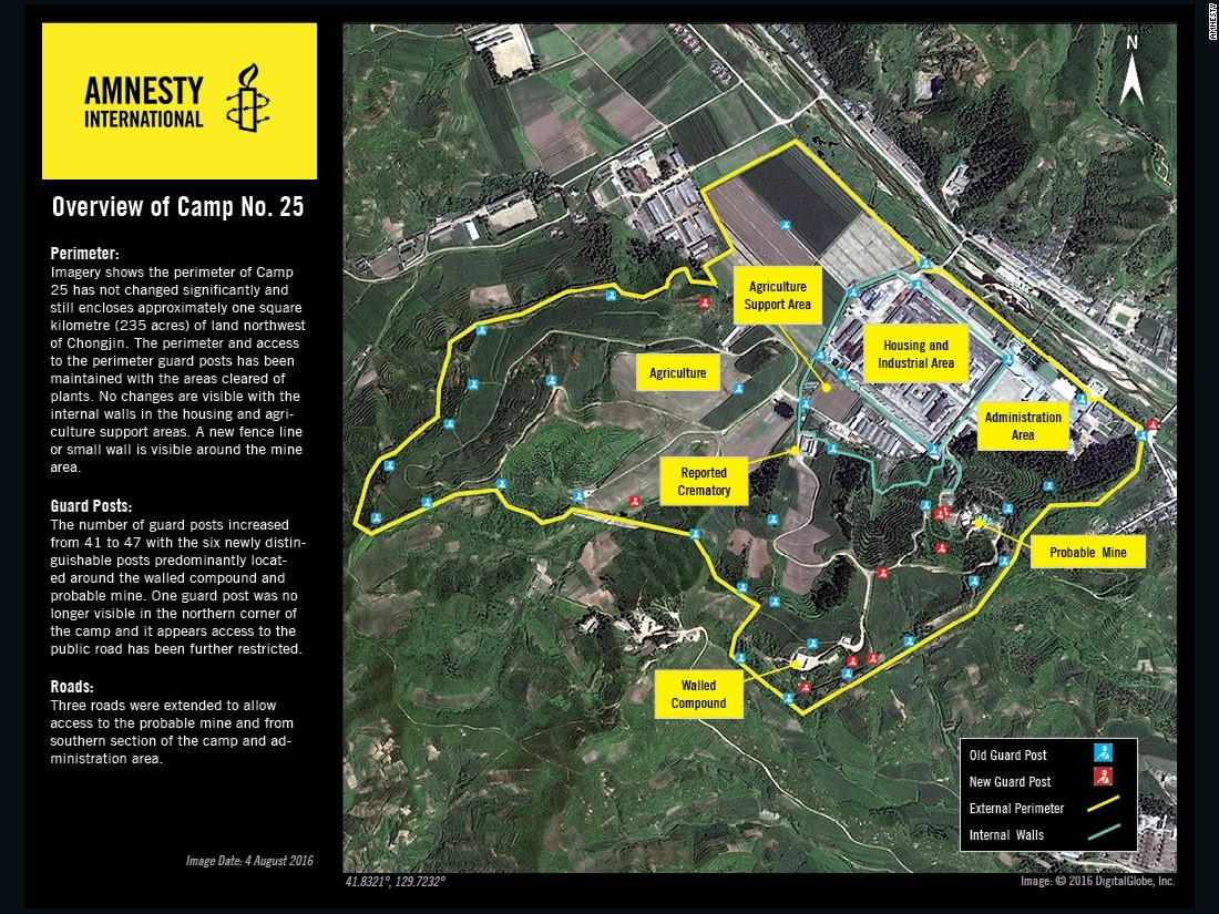 Satellite imagery shows North Korean prison Camp No. 25.