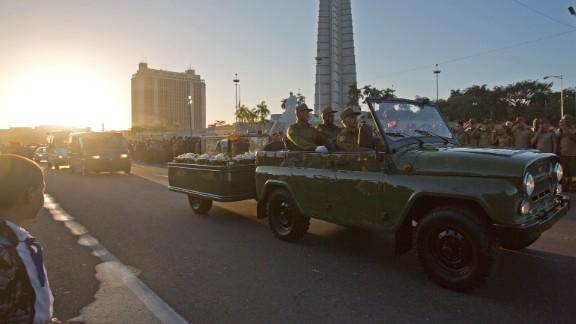 Castro's ashes are driven through Revolution Square in Havana on November 30.
