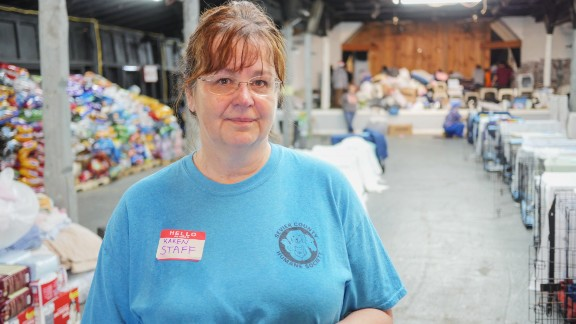 Karen Summerville, the volunteer coordinator for the Sevier County Humane Society, has managed all of the volunteers coming to local fairground  to help take care of animals displaced by the wildfires in Eastern Tennessee.