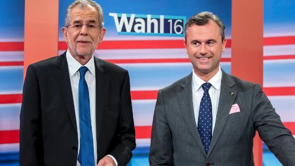 Austrian election candidates Alexander Van der Bellen and Norbert Hofer.