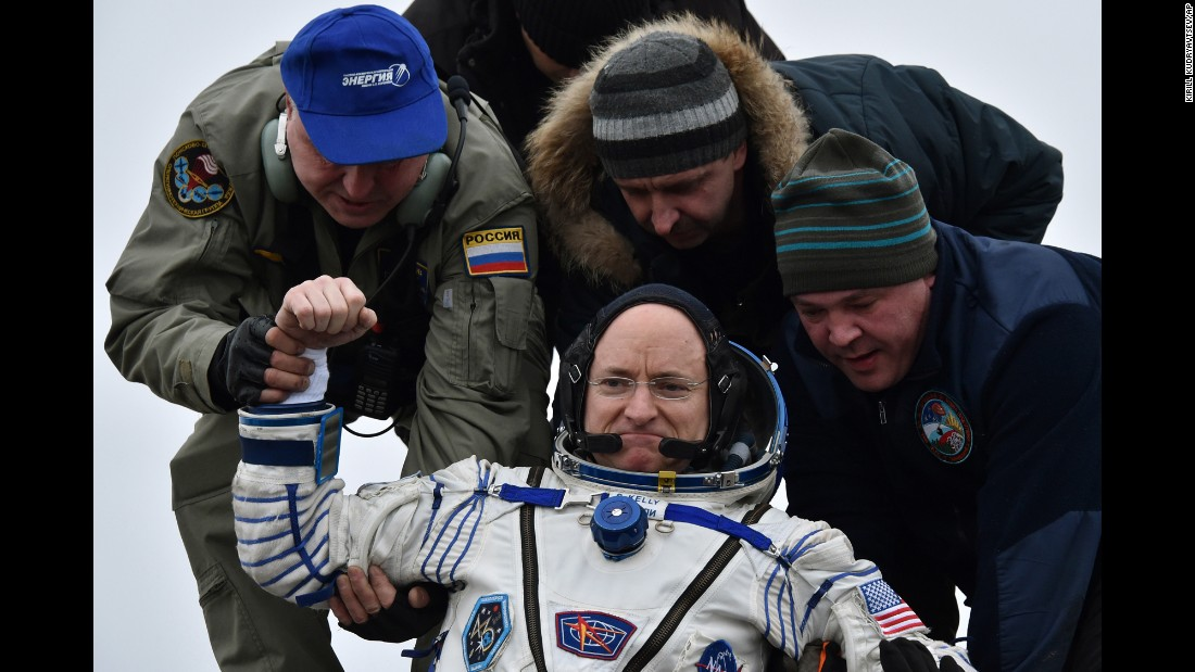 "<strong>March 2:</strong> NASA astronaut Scott Kelly is helped off the Soyuz space capsule after he and two Russian cosmonauts landed in the Kazakhstan desert. Kelly <a href=""http://www.cnn.com/2016/03/01/us/astronaut-scott-kelly-one-year-mission-ending/"" target=""_blank"">spent nearly a year</a> on the International Space Station. <a href=""http://www.cnn.com/2015/12/15/us/gallery/scott-kelly-space-photos-astronaut/index.html"" target=""_blank"">See his best photos from space</a>"