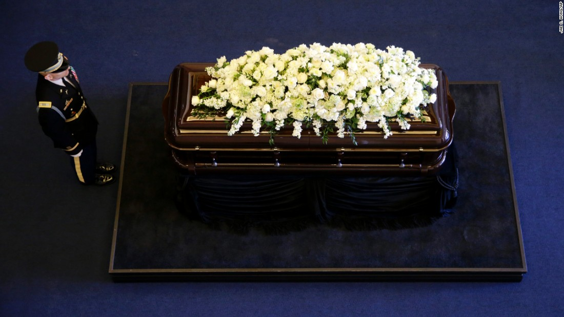 "<strong>March 9:</strong> The casket of Nancy Reagan lies in repose at the Ronald Reagan Presidential Library in Simi Valley, California. The former first lady <a href=""http://www.cnn.com/2016/03/06/politics/nancy-reagan-dies-obit/index.html"" target=""_blank"">died March 6</a> at the age of 94."