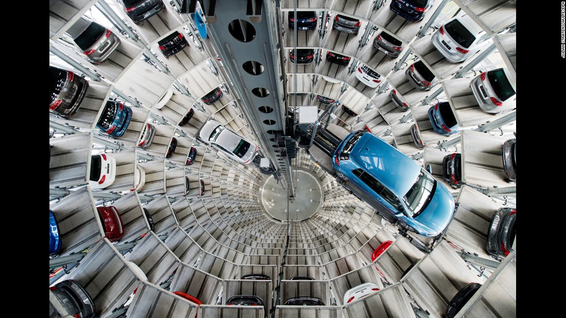 <strong>April 28:</strong> New Volkswagen cars are parked at a plant in Wolfsburg, Germany.