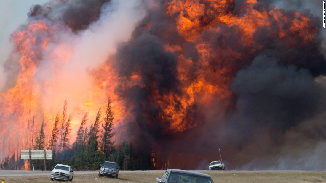 "<strong>May 7:</strong> A wildfire <a href=""http://www.cnn.com/2016/05/05/world/gallery/canada-wildfire-fort-mcmurray/index.html"" target=""_blank"">rips through the forest</a> near Fort McMurray, Alberta. More than 88,000 people were forced to flee their homes."