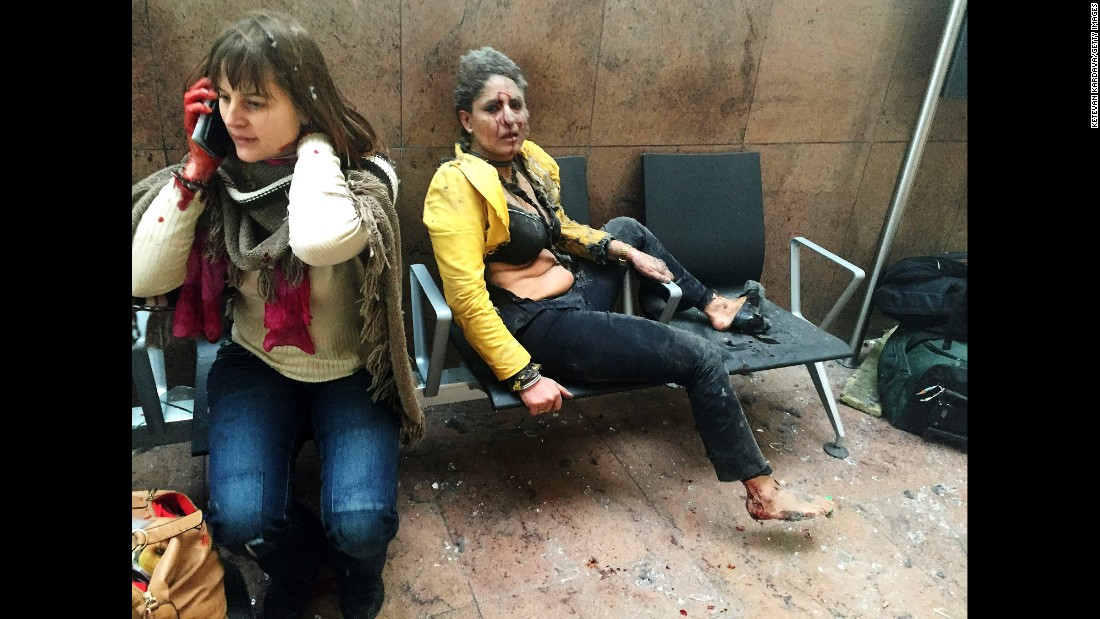 "<strong>March 22:</strong> Two wounded women sit in the airport in Brussels, Belgium, after two explosions rocked the facility. A subway station in the city was also targeted in <a href=""http://www.cnn.com/2016/03/24/europe/brussels-investigation/index.html"" target=""_blank"">terrorist attacks</a> that killed at least 35 people and injured hundreds more. <a href=""http://www.cnn.com/interactive/2016/03/world/faces-of-fear-brussels/"" target=""_blank"">Faces of fear and hope in Brussels</a>"