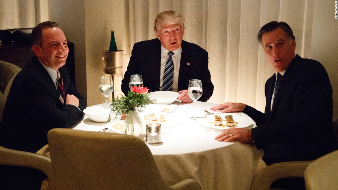 "US President-elect Donald Trump, center, <a href=""http://www.cnn.com/2016/11/29/politics/donald-trump-mitt-romney-jean-georges/"" target=""_blank"">shares a meal in New York</a> with chief of staff Reince Priebus, left, and former Massachusetts Gov. Mitt Romney on Tuesday, November 29. Trump and his transition team are in the process of filling high-level positions for the new administration, and Romney is reportedly in the running for secretary of state."