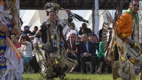 President Obama talks with Standing Rock Sioux Chairman David Archambault II during the Cannon Ball Flag Day Celebration on June 13, 2014.