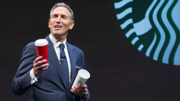 SEATTLE, WA - MARCH 23: Starbucks CEO Howard Schultz speaks about the Christmas cup controversy during the Starbucks Annual Shareholders Meeting on March 23, 2016 in Seattle, Washington. Schultz also spoke about Starbucks in expansion in China. (Photo by Stephen Brashear/Getty Images)