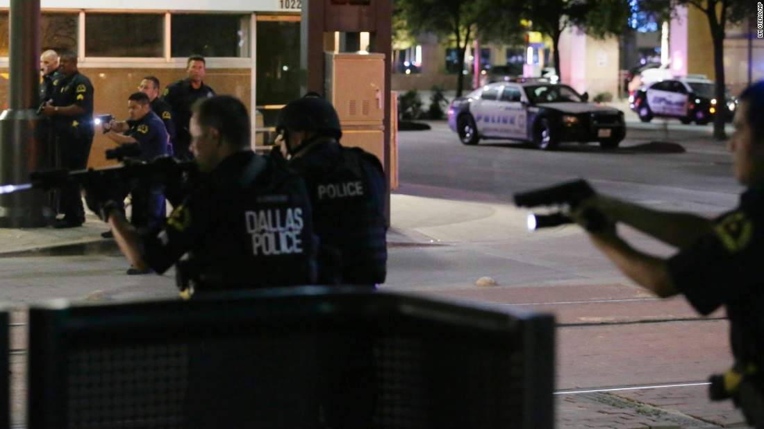 "<strong>July 7:</strong> Police respond to a scene where shots were fired in downtown Dallas. Five police officers <a href=""http://www.cnn.com/2016/07/08/us/philando-castile-alton-sterling-protests/index.html"" target=""_blank"">were fatally shot</a> during a protest over police shootings in Louisiana and Minnesota. Seven other officers were injured in the ambush, as were two civilians. The attacker was killed by a bomb-carrying police robot after negotiations failed."