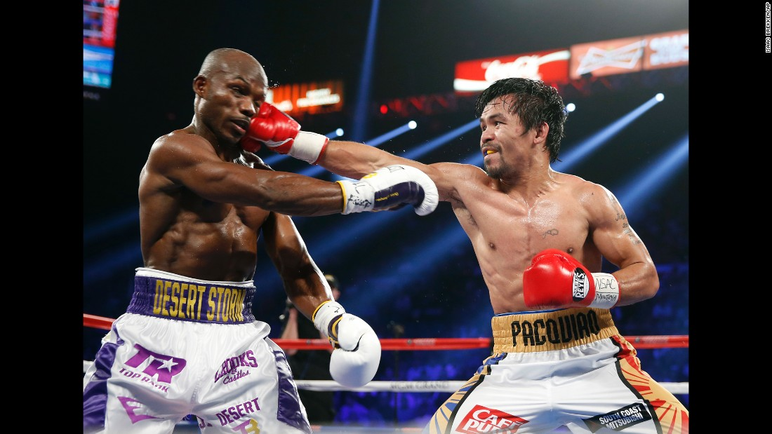 Manny Pacquiao punches Timothy Bradley Jr. during their welterweight fight in Las Vegas on Saturday, April 9. Pacquiao won by unanimous decision.