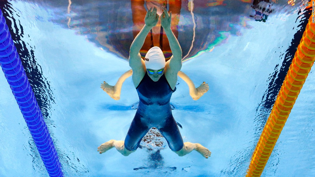 Ireland's Fiona Doyle swims the 200-meter backstroke at the Olympics on Wednesday, August 10.