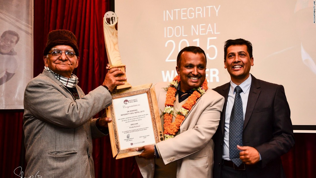 District administrator Pradip Raj Kandel receives the award for Integrity Idol Nepal 2015. <br /><br />The competition was launched by NGO Accountability Lab in Nepal in 2014, and is now held in four countries, which could rise to eight next year.