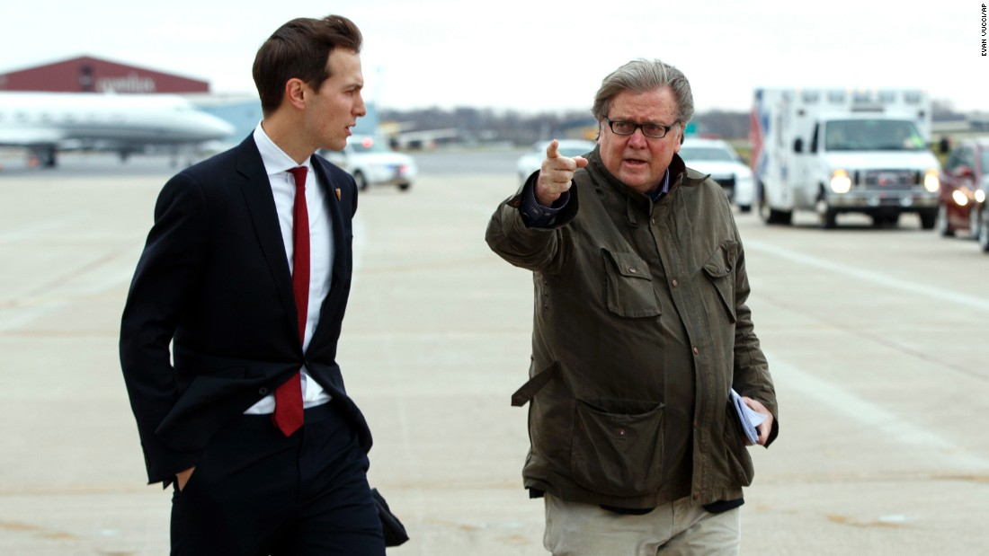 "<a href=""http://www.cnn.com/2016/06/20/politics/donald-trump-jared-kushner/"" target=""_blank"">Jared Kushner</a>, President-elect Donald Trump's son in-law, left, walks with Trump's <a href=""http://www.cnn.com/2016/11/10/politics/steve-bannon-trump-chief-of-staff/"" target=""_blank"">Chief Strategist Stephen Bannon</a> at Indianapolis International Airport, on Thursday, December 1."