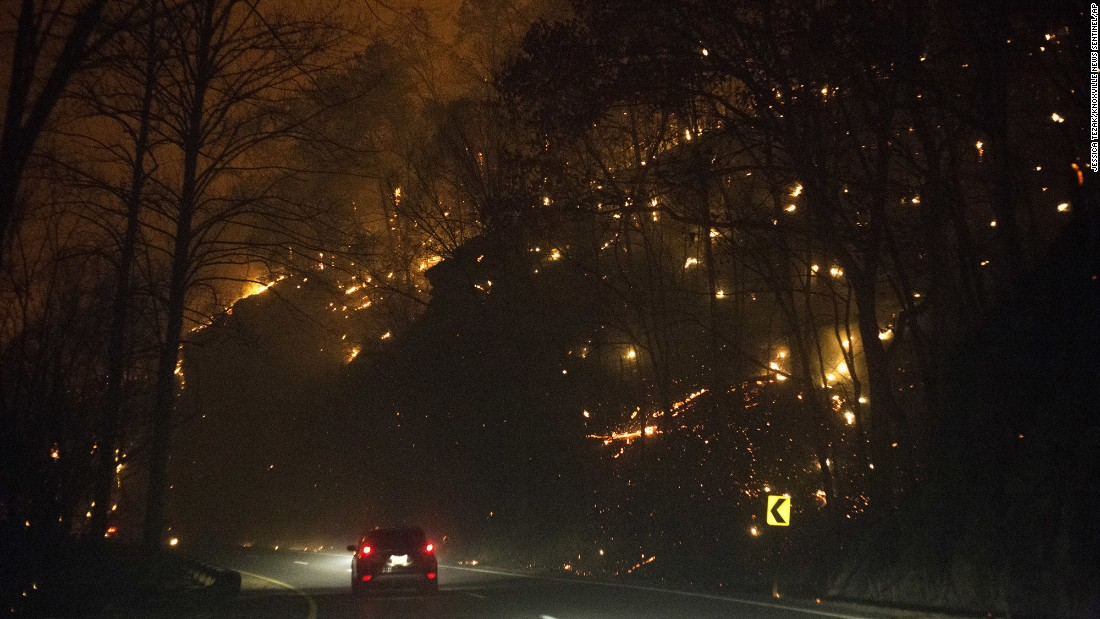 "Fires burn on both sides of US 441 between Gatlinburg and Pigeon Forge, Tennessee, on Monday, November 28. <a href=""http://www.cnn.com/2016/12/02/us/gatlinburg-fires/index.html"" target=""_blank"">Wildfires </a>have left a trail of destruction through North Carolina, South Carolina, Georgia, Tennessee, Alabama and Kentucky, according to the US Forest Service."