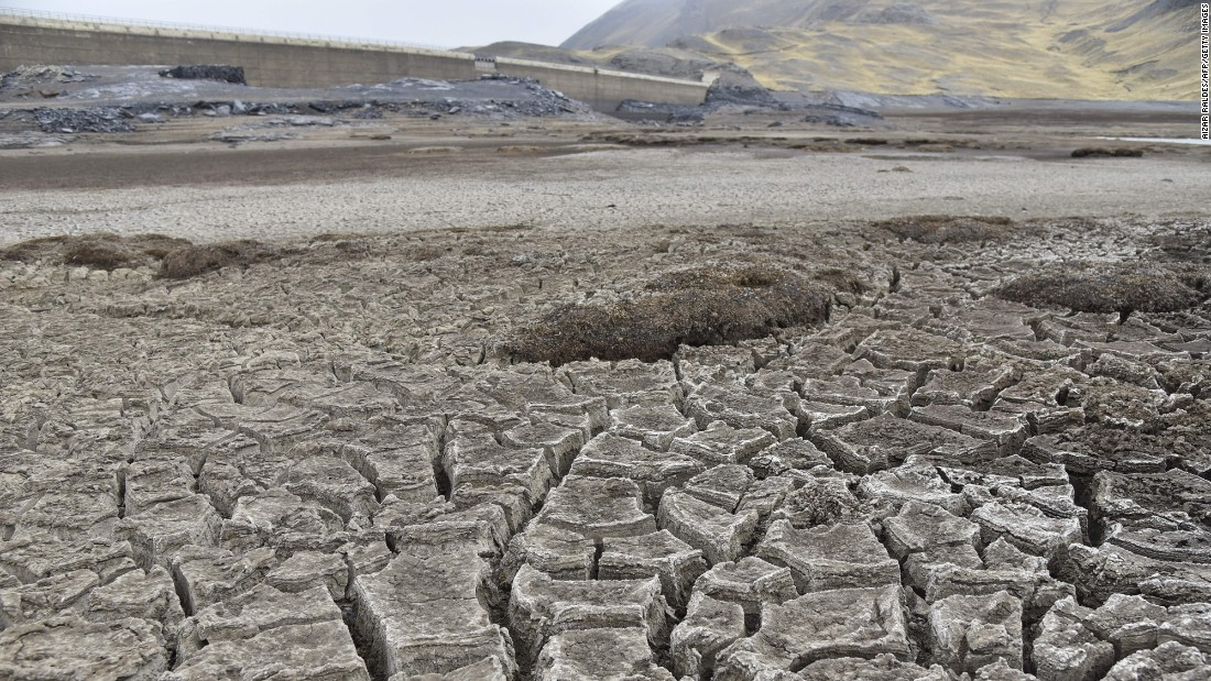 Bolivia's severe drought is apparent at the Ajuankota water reservoir in La Paz on November 21.