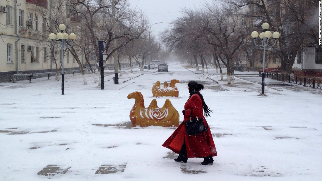Winter weather strikes in Baikonur, Kazakhstan, on November 16.