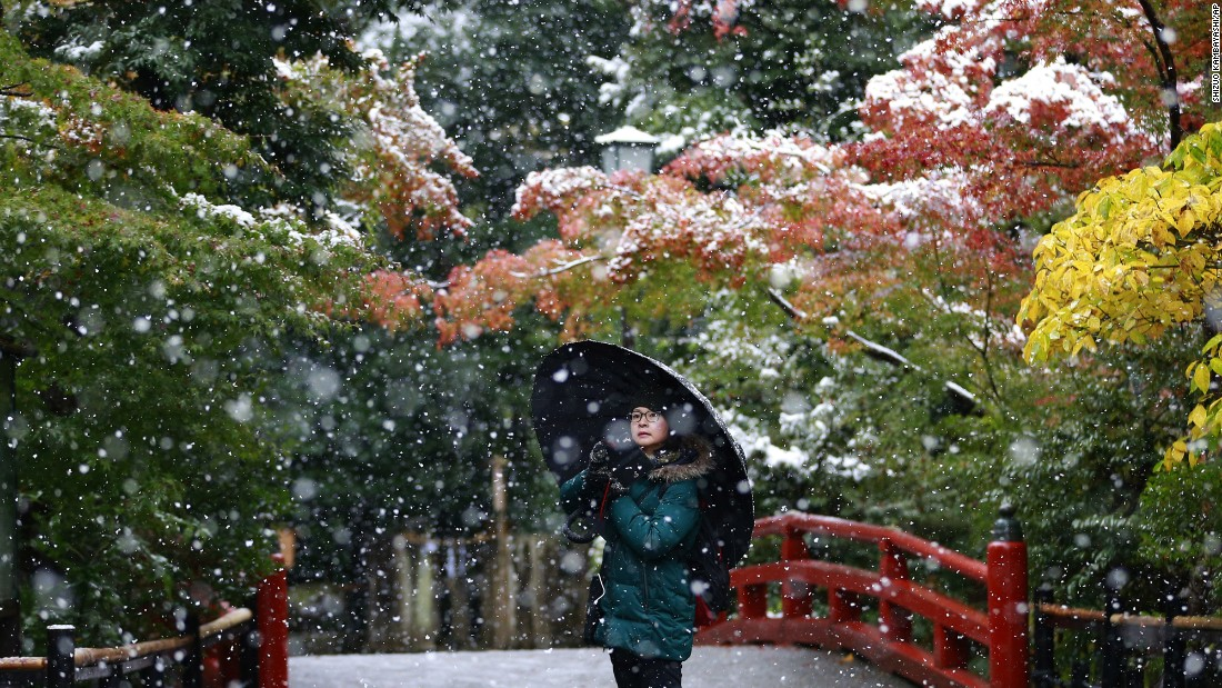 "Winter arrives early at the Tsurugaoka Hachimangu Shrine in Kamakura, Japan, near Tokyo, on November 24. <a href=""http://www.cnn.com/2016/11/24/world/tokyo-snow-japan-november-early/"">Tokyo residents awoke to their first November snowfall</a> in more than 50 years."