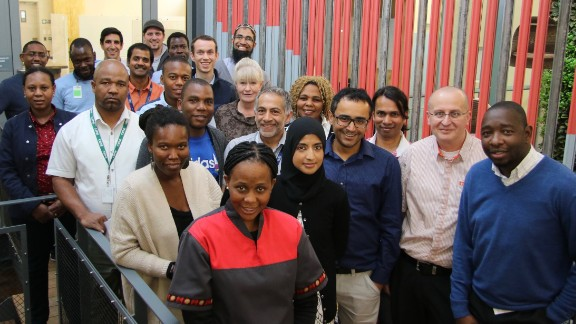 """Greater access to technology means """"we are looking at solving problems in Africa in a way we never thought possible before,"""" Siwo says. """"We are not only looking at how technology will enable us now but we are starting to think about how technology will work in the future.""""  Pictured: the team of researchers in Johannesburg, South Africa."""