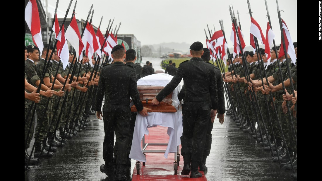 "A military guard of honor receives the coffins of members of the <a href=""http://www.cnn.com/2016/11/29/football/brazil-chapecoense-plane-crash/index.html"">Chapecoense soccer team</a> who were killed in a plane crash as they arrive at the airport in Chapeco, Brazil, on Saturday, December 3. The football club was traveling to compete in the Copa Sudamericana final when <a href=""http://www.cnn.com/2016/11/29/americas/colombia-plane-accident/index.html"">its charter plane crashed near Medellin, Colombia</a>, on Monday, November 28, killing 71 people on board. Six people survived, including three Chapecoense players."