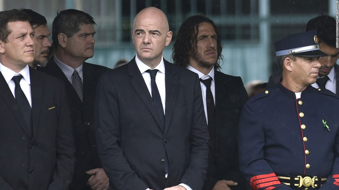 FIFA president Gianni Infantino attends the funeral of the members of the Chapecoense team killed in a plane crash in Colombia.