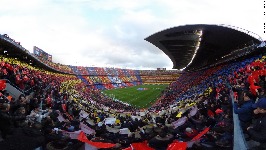 A spectacular panoramic view of a packed Camp Nor for the first El Clasico clash of the Spanish season.