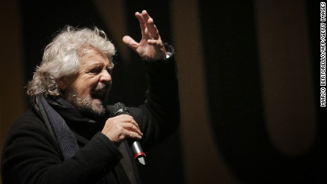 The leader of the Five Star Movement, Beppe Grillo, delivers a speech during a campaign meeting upon a referendum on constitutional reforms, on December 2, 2016 in Piazza San Carlo in Turin.