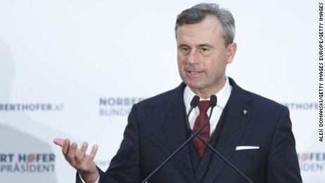 Norbert Hofer, presidential candidate for the right-wing populist Austria Freedom Party came second in the 2016 election.