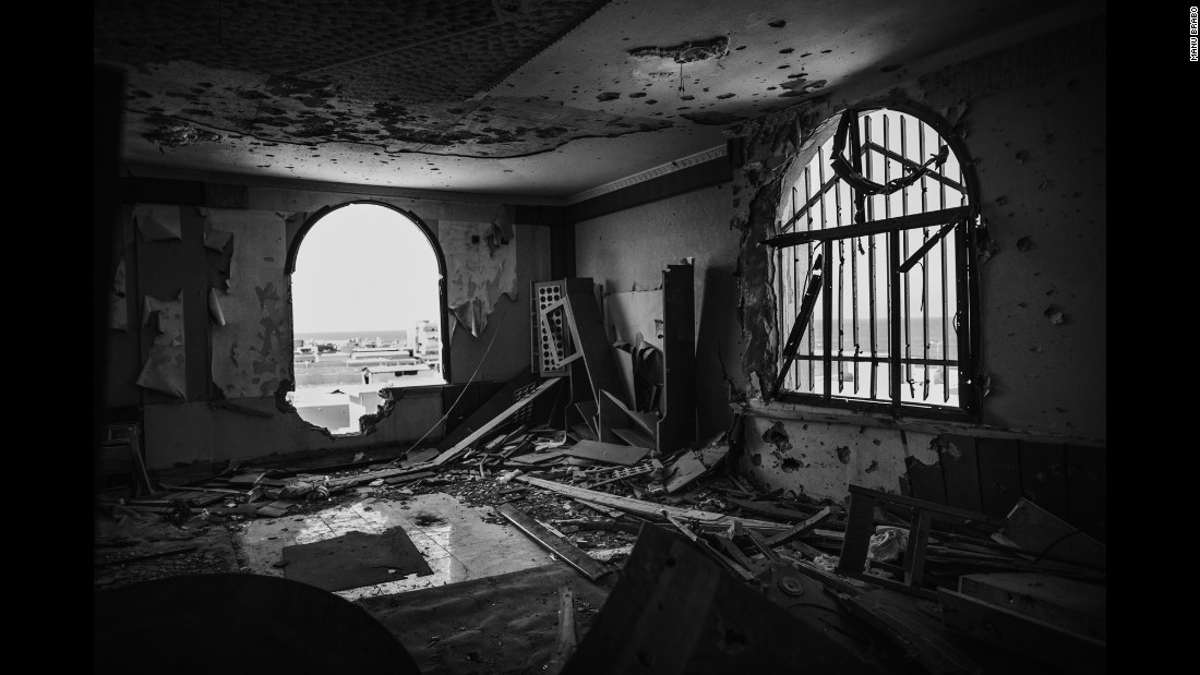 The interior of the National Bank Building, which was occupied by Libyan forces after weeks of battle.