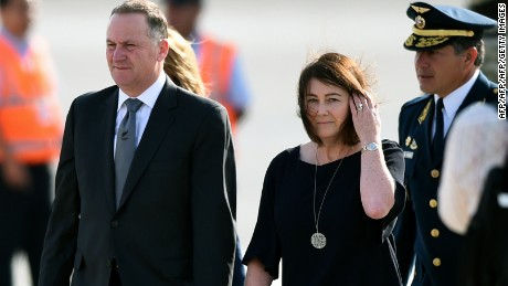 New Zealand's Prime Minister John Key and his wife Bronagh arrive for APEC talks in Lima, November 18, 2016.
