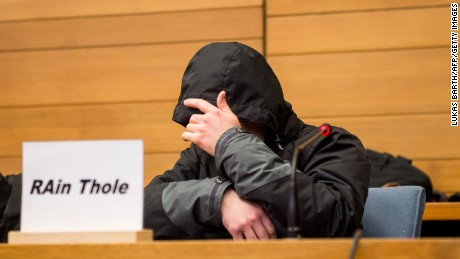 "The defendant, identified only as ""Michael P,"" admitted his guilt over the crash but wore a hood in court to hide his face. This photo was taken at an earlier court hearing."