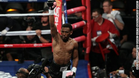 Danny Jacobs after knocking out Josh Luteran during their Super Middleweight fight in 2012.