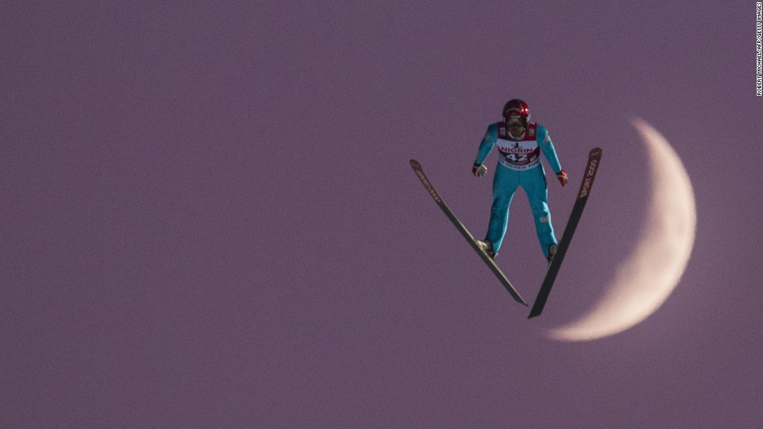 Vincent Descombes Sevoie of France competes at the FIS Ski Jumping World Cup in Klingenthal, Germany, on Sunday, December 4. Sevoie finished 10th.