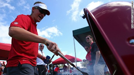TAMPA, FL - OCTOBER 04:  Fans tailgate before the game between the Tampa Bay Buccaneers and the Carolina Panthers at Raymond James Stadium on October 4, 2015 in Tampa, Florida.  (Photo by Rob Foldy/Getty Images)