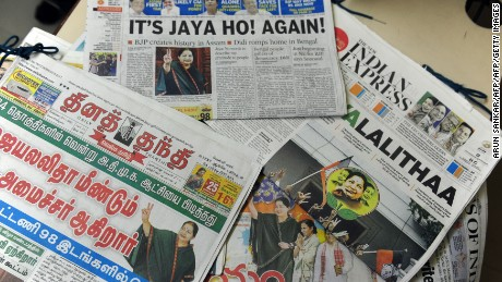 Indian newspapers show the election result victory for Jayalalithaa Jayaram in May 2016.